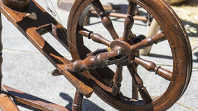 Vintage, traditional spinning wheel for wool yarn, craft ancient Stock Image