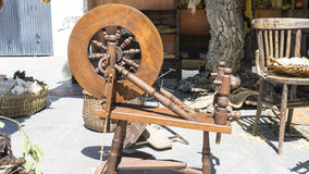 Vintage, traditional spinning wheel for wool yarn, craft ancient Royalty Free Stock Photography