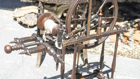 Vintage, traditional spinning wheel for wool yarn, craft ancient Royalty Free Stock Photo