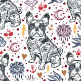 Vintage traditional tattoo flash seamless pattern. Royalty Free Stock Image