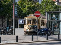 Vintage traditional tram / street car in Batalha, Porto, Portugal. stock images