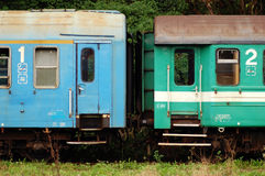 Vintage Train Cars. Royalty Free Stock Images