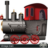 Vintage train. Illustration of a cartoon vintage train isolated on white background, with a Station sign Stock Photo