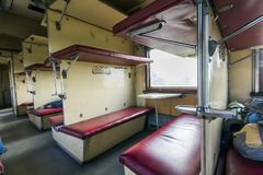 Vintage train interior with sleeping car seats Stock Image
