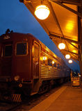 Vintage train at night. Vintage train in depot at night Stock Images