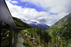 Vintage Train out of Skagway Alaska Royalty Free Stock Images