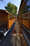 Vintage train in Soller, Mallorca, Spain - on the way to Seller's historic train Stock Images