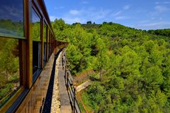Vintage train in Soller, Mallorca, Spain - on the way to Seller's historic train Royalty Free Stock Photography