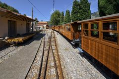 Vintage train in Soller, Mallorca, Spain - on the way to Seller's historic train Royalty Free Stock Photos