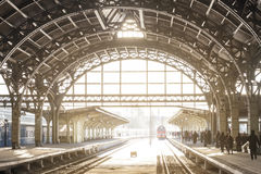 Vintage train station with metal roof royalty free stock images