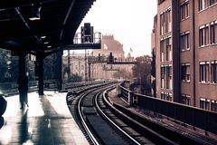 Vintage train station with railway Stock Images