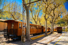 Vintage train stops at the station in Soller Stock Image