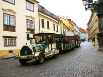 Vintage  train in streets of Prague Royalty Free Stock Images