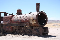 Vintage train at Train Cemetery in Bolivian desert Stock Image