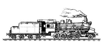 Vintage train. Vector drawing of train stylized as engraving Royalty Free Stock Images