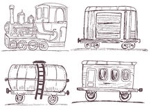 Vintage train with wagons sketch Stock Photography