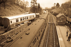 Vintage train waiting at Goathland Station Royalty Free Stock Photos