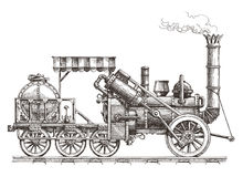 Vintage train on a white background. sketch Royalty Free Stock Photo