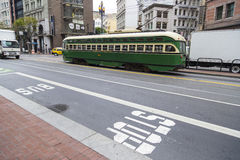 Vintage tram cable trolley car on the streets of San Francisco Stock Photos