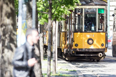Vintage tram car in Milan Royalty Free Stock Photos