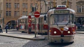 A vintage tram on the central street Prague, Czech Republic stock footage