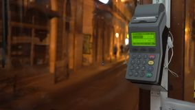 Vintage tram in the city center of Lisbon, Portugal. Driver seat and the cash register with receipt.  stock footage