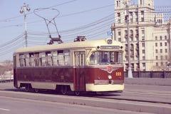 Vintage tram on the empty street. Stock Photos