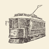 Vintage tram, engraved illustration Royalty Free Stock Images