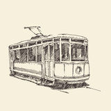 Vintage tram, engraved illustration Royalty Free Stock Photography