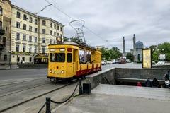 Vintage tram on Kamennoostrovsky prospect Saint Petersburg. Russ Royalty Free Stock Image