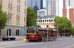 Vintage tram in Melbourne, Australia Stock Image