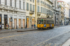 Vintage tram on the Milano street stock images