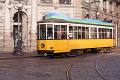 Vintage tram on the Milano street Royalty Free Stock Photos