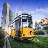 Vintage tram on the Milano street, Italy Stock Images
