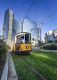 Vintage tram on the Milano street, Italy Royalty Free Stock Photo