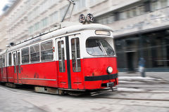 Vintage tram in motion Royalty Free Stock Photo
