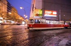 Vintage tram in motion blur. Stock Photos