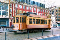 Vintage tram in Old Town of Porto, Portugal Stock Photography