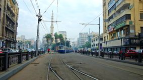 Vintage tram at station in Mahta al Raml square, Alexandria. ALEXANDRIA, EGYPT - DECEMBER 18, 2017: Vintage tram rides to terminal station in Mahta al Raml stock video footage