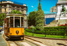 Vintage tram on the street in Milan Royalty Free Stock Photo