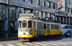 Vintage Tram or Streetcar Lisbon Portugal Stock Photos