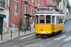 Vintage Tram on the streets of Alfama Lisbon Portugal. Royalty Free Stock Image