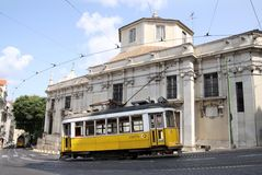Vintage tram on the streets of Lisbon Royalty Free Stock Image