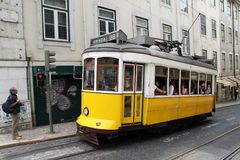 Vintage tram on the streets of Lisbon Stock Photography