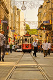 Vintage tram on the Taksim Istiklal Street. ISTANBUL, TURKEY - June 04 : Vintage tram on the Taksim Istiklal Street on June 04, 2012 in Istanbul, Turkey. Taksim Royalty Free Stock Images