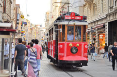 Vintage tram on the Taksim Istiklal Street Royalty Free Stock Photography