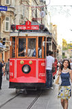 Vintage tram on the Taksim Istiklal Street stock images
