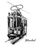 Vintage tram Taksim-Tünel on Istiklal Street in Istanbul, sketch  illustration Royalty Free Stock Images