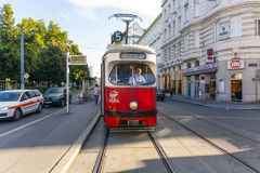 Vintage tram in Vienna in motion Royalty Free Stock Photography