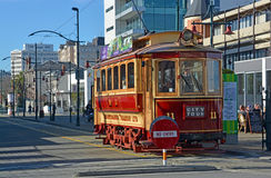 Vintage Tram on Worcester Boulevard Christchurch in Winter stock photo